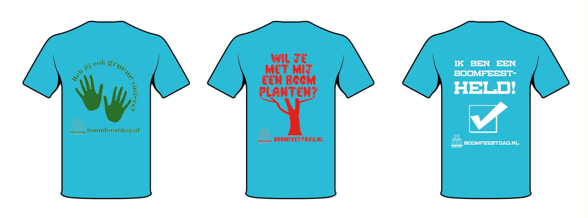 Boomfeestdag T-shirt Turquoise achterzijde - Herinneringsartikel