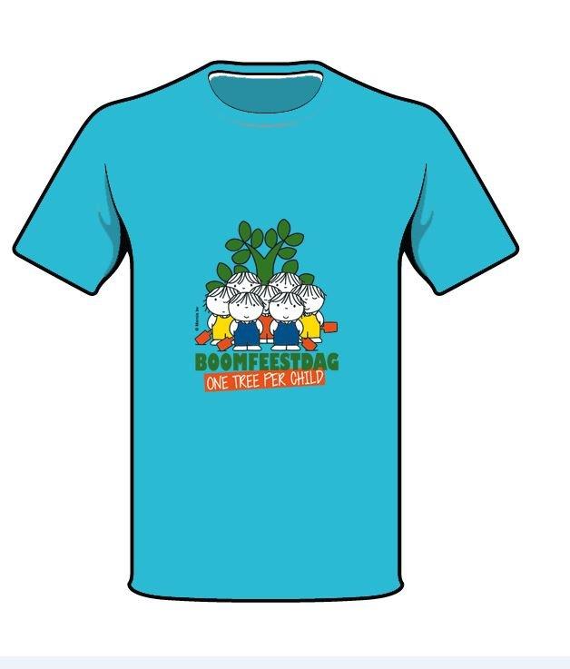 Boomfeestdag T-shirt Turquoise voorzijde - Herinneringsartikel